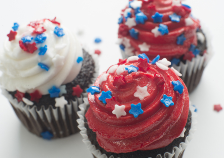 Chocolate cupcakes celebrating America independence day holiday