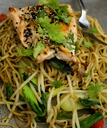 noodles with vegetable and fish stir-fried