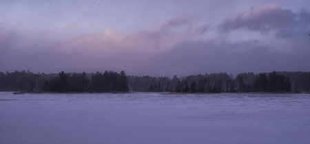 winter forest panorama view over frozen lake