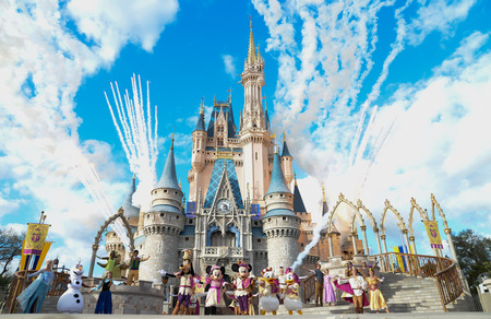Disney`s Magic Kingdom Cinderella castle, Mickey, Disney Frozen Elsa and Anna live play with fireworks. Photo taken on Feb 2018, Disney World, Orlando, Florida, USA