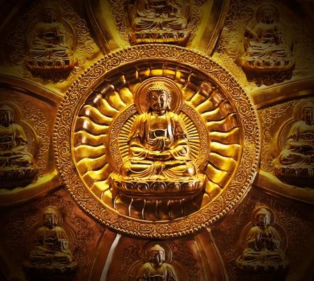 Bouddha temple mur dans le temple tha�