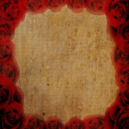 Rose rouge de style r�tro cadre