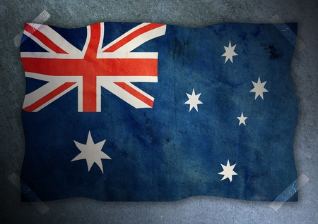 australian flag on cement wall  Stock Photo