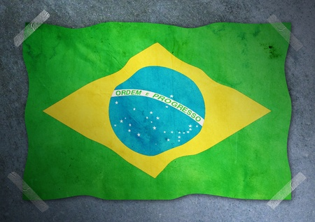 brazil flag on cement wall  photo