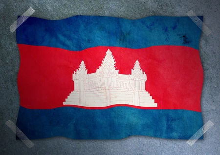 cambodian flag on cement wall