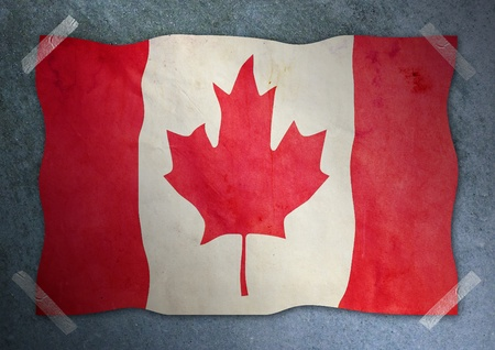 canadian flag on cement wall  photo