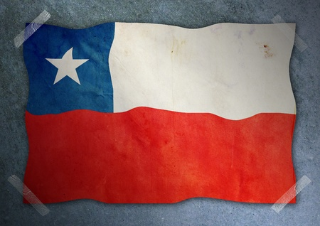 chile flag on cement wall  Stock Photo
