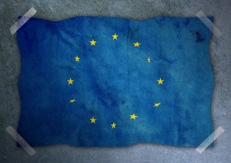 Europe flag on cement wall