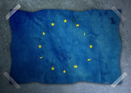 L'Europe drapeau sur mur en b�ton