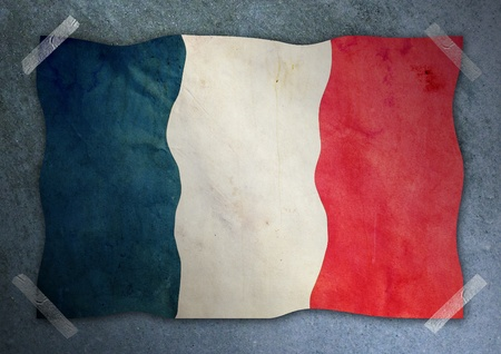 france flag on cement wall  photo