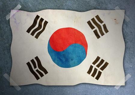 korea flag on cement wall  Stock Photo