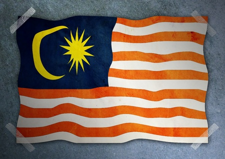 Malaysia flag on cement wall