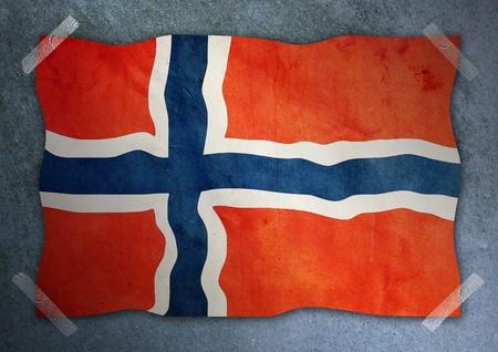 drapeau de la Norv�ge sur le mur de ciment