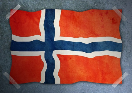 norway  flag on cement wall