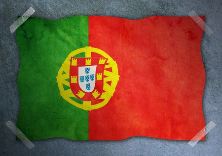 portugal flag on cement wall  photo