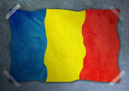 romania flag on cement wall  Stock Photo - 12084148