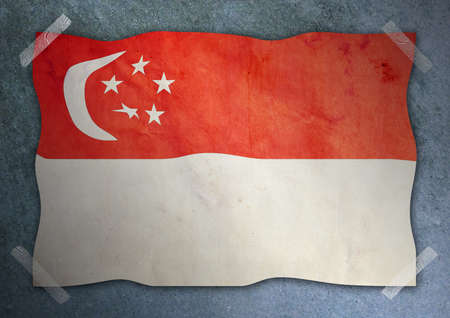 Singapore flag on cement wall  Editorial