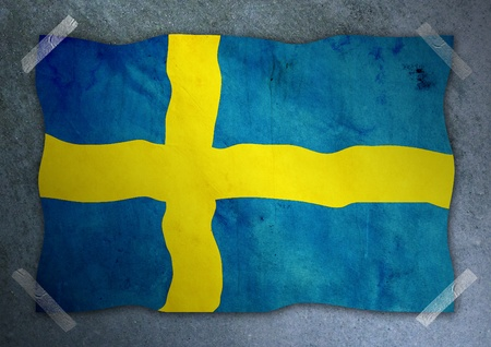 Sweden flag on cement wall  photo