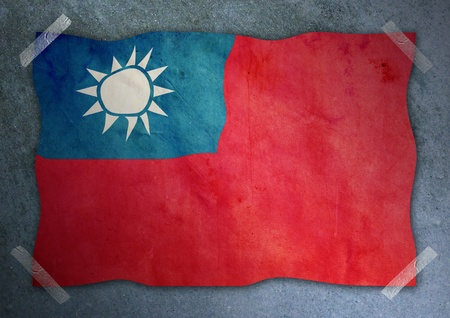 Taiwan flag on cement wall