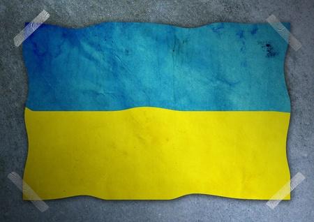 Ukraine flag on cement wall  photo
