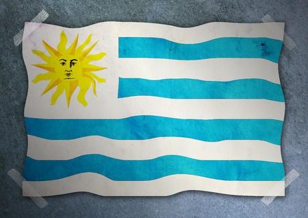 uruguay flag: Uruguay flag on cement wall