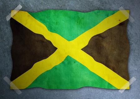 jamaican: jamaican flag on cement wall