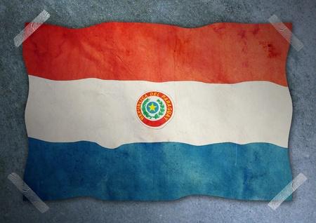 bandera de paraguay: La bandera de Paraguay en la pared de cemento Foto de archivo