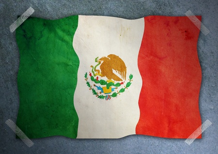 Mexico flag on cement wall  Stock Photo - 12679187