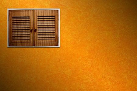 window on orange cement wall Stock Photo - 13153752
