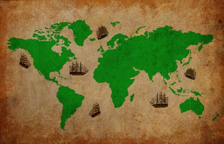Bark on vintage world map background