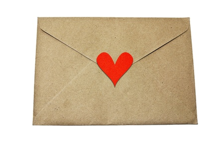 paper envelope with white heart on white background  photo