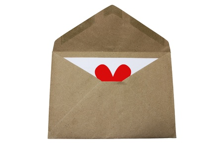 paper envelope with white heart on white background Stock Photo - 13153772