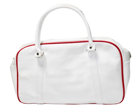 White red leather bag  photo