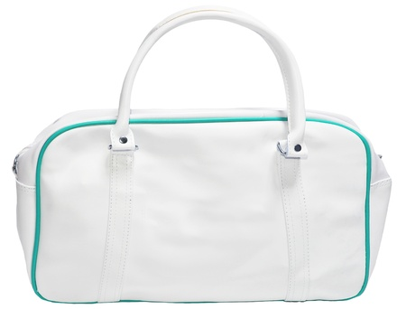 White green leather bag