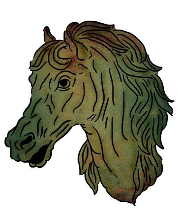 Retrato de caballo, estilo de la pintura antigua Foto de archivo - 13749524