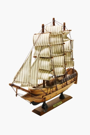 starboard: Wooden ship toy model, isolated on white background  Stock Photo