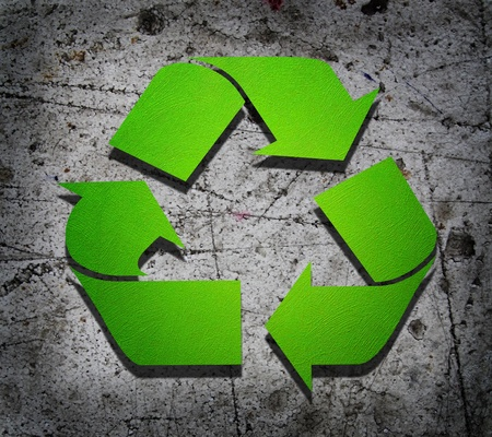 Recycle in Green on a polyfoam  Stock Photo