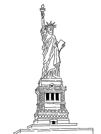 Drawing Statue of Liberty in New York