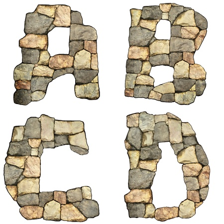 collection of letters of stones on white background Stock Photo - 14095621