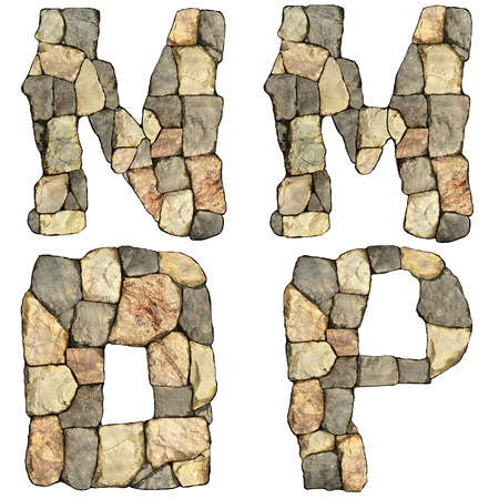 collection of letters of stones on white background