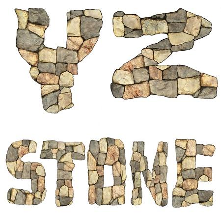 collection de lettres de pierres sur fond blanc