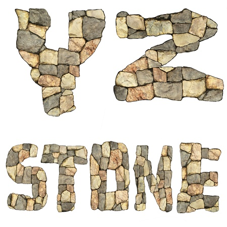 collection of letters of stones on white background  photo