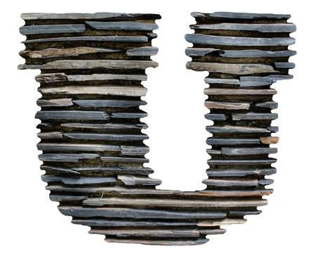 letter U jigsaw stone  Stock Photo