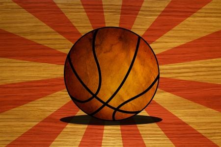 Basket-ball sur plancher en bois
