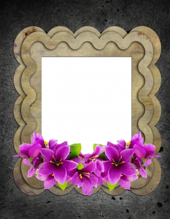 floral vintage frame on cement wall