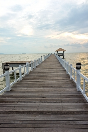 wood bridge from a sea to beach  photo