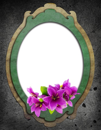 floral vintage frame on cement wall  photo