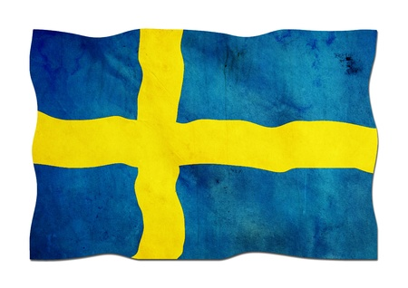 Swedish Flag on Vintage Paper photo
