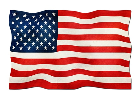 grungy isolated: USA Flag made of Paper  Stock Photo