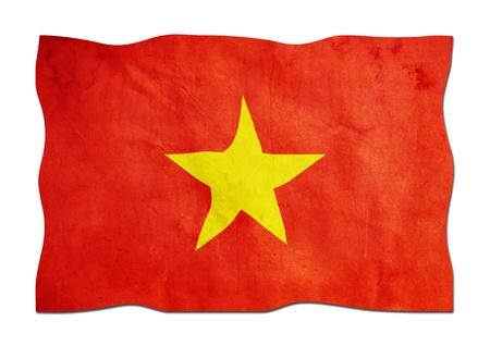 identidad cultural: Bandera de Vietnam hecha de papel Foto de archivo